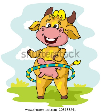 cow turns the hoop to Lose Weight - stock vector