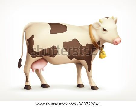 Cow, vector icon - stock vector