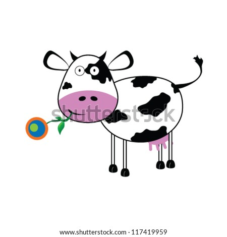 cow with a flower vector illustration - stock vector