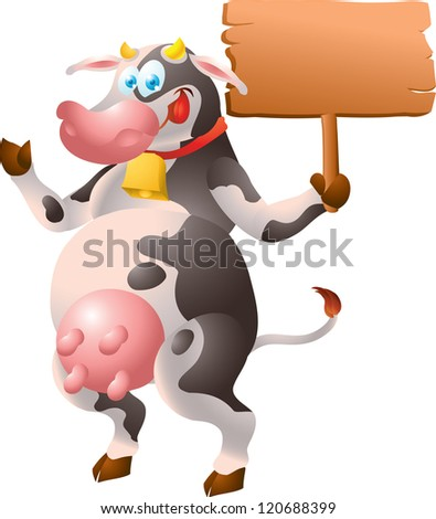 Cow with sign - stock vector