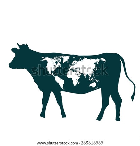 cow with world map - stock vector