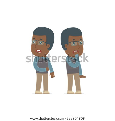 Cowardly Character African American Teacher heard something and very scared. for use in presentations, etc. - stock vector
