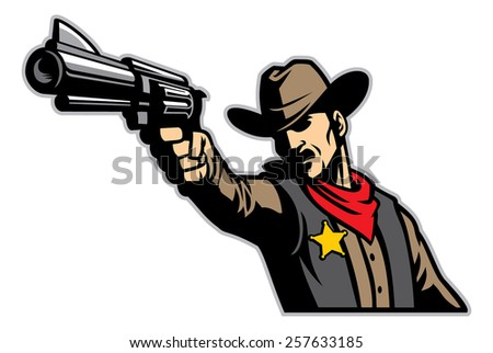 cowboy aiming the gun - stock vector