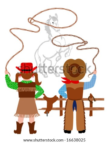 Cowboy and cowgirl catching the horse with lasso - stock vector