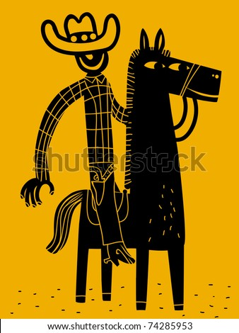 Cowboy and his horse - stock vector