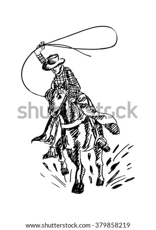 Cowboy and horse. Hand drawing illustration. - stock vector