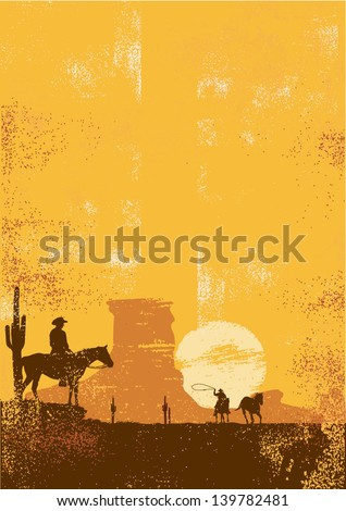 Cowboy background in grunge style - stock vector