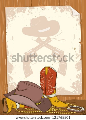 Cowboy background with american boots and old paper - stock vector