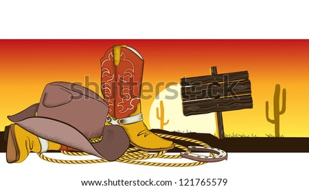 Cowboy background with american clothes.Desert landscape and wood billboard - stock vector