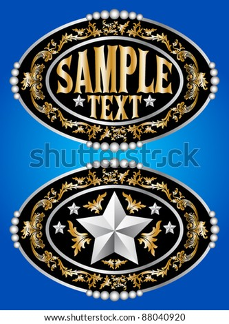 cowboy belt buckle vector design - stock vector