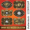 Cowboy belt buckle vector master collection set design - stock vector