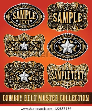 Cowboy belt buckle vector master collection set design - stock vector