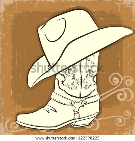 Cowboy boot and hat.Vector vintage background - stock vector