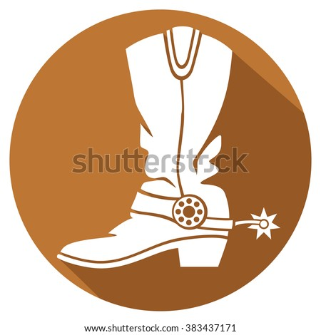 cowboy boot flat icon - stock vector