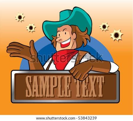 cowboy character2 - stock vector