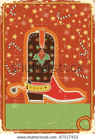 Cowboy christmas  card with boot and holiday decoration for text - stock vector