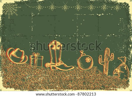 Cowboy christmas card with holiday elements and decoration on old paper texture - stock vector