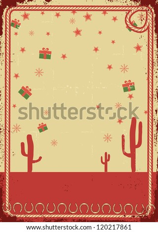 Cowboy christmas card with rope frame for text on vintage poster - stock vector
