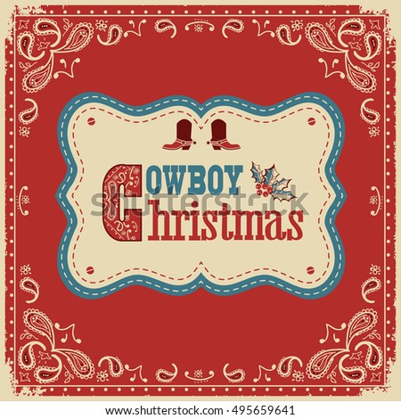 Cowboy christmas card with text on board.Vector western american illustration background