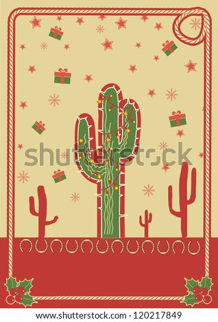Cowboy christmas poster with cactus and rope frame for text - stock vector