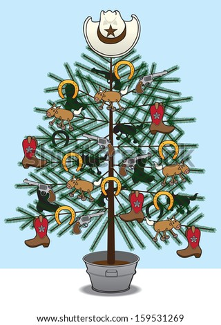 Cowboy Christmas Tree - stock vector