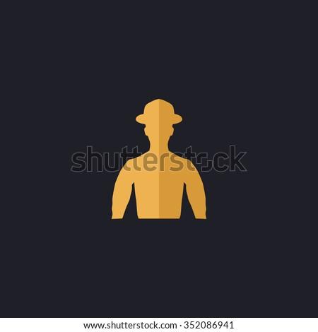 Cowboy Color vector icon on dark background - stock vector