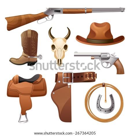 Cowboy elements set with saddle hat horseshoe skull isolated vector illustration - stock vector