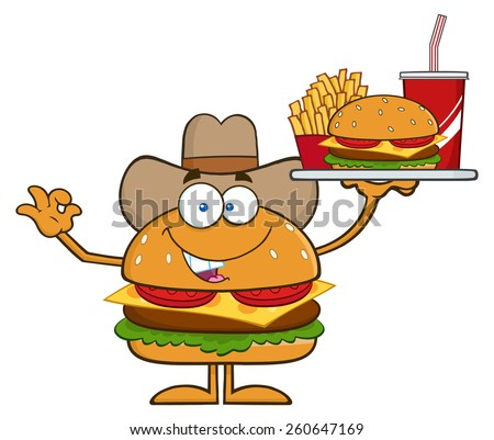 Cowboy Hamburger Cartoon Character Holding A Platter With Burger, French Fries And A Soda. Vector Illustration Isolated On White - stock vector
