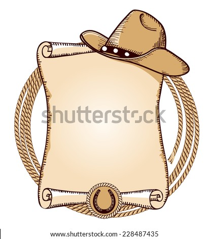 Cowboy hat and lasso.Vector American background for text - stock vector