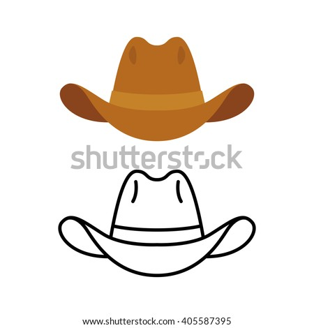 Cowboy hat icon. Two variants, flat color and line icon. Simple cartoon hat illustration. - stock vector