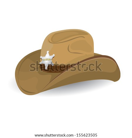cowboy hat with sheriff star badge. vector illustration. - stock vector