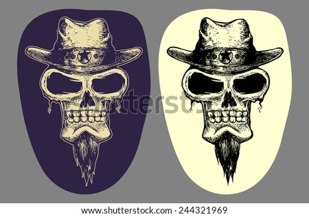 Cowboy head skull in dark and inverted color isolated  - stock vector