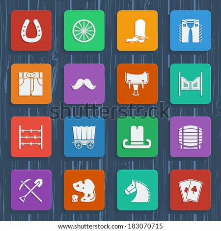 Cowboy icons. Vector western pictograms in flat style design - stock vector