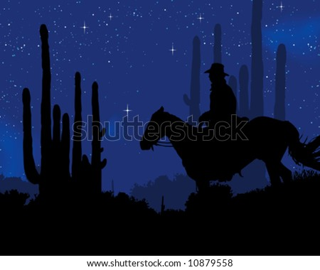 Cowboy in the night - stock vector