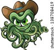 Cowboy octopus character isolated on white background - stock