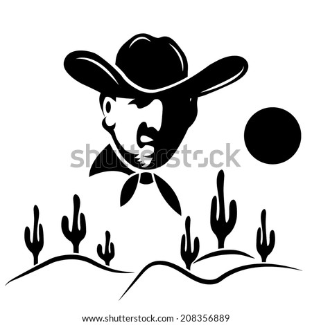 cowboy on the background of desert with cactus - stock vector