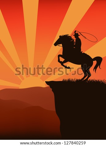 cowboy on top of mountain at sunset  - silhouette against sky with sun rays - stock vector