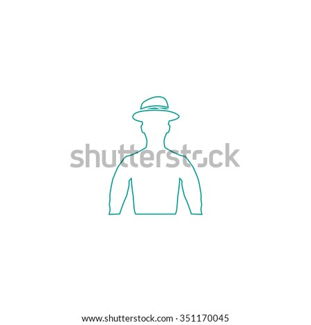 Cowboy Outline vector icon on white. Line symbol pictogram  - stock vector