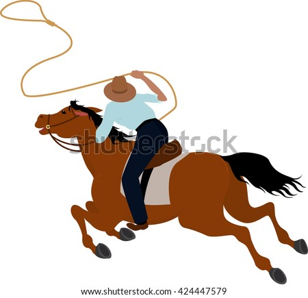 Cowboy rider on the horse throwing lasso illustration Wild West - stock vector