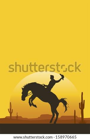 Cowboy riding a bucking bronco at sunset, vector - stock vector