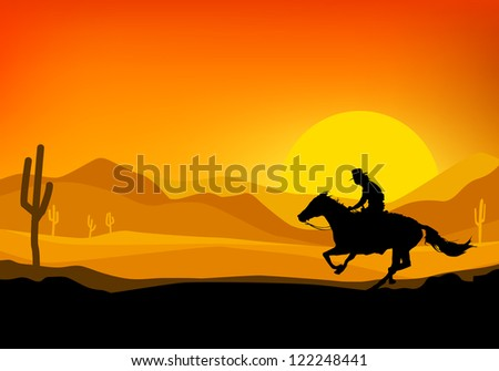 Cowboy riding a horse, silhouette background of sunset, illustration with vector design. - stock vector