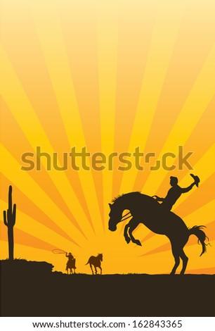 Cowboy riding wild horse silhouette, vector - stock vector