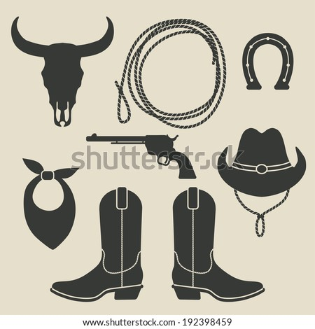 cowboy rodeo set - vector illustration. eps 8 - stock vector