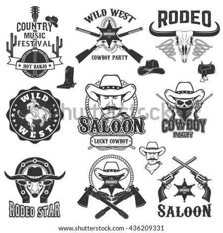 Cowboy rodeo, wild west labels. Country music party.  Design elements for logo, label, emblem, sign, badge. - stock vector