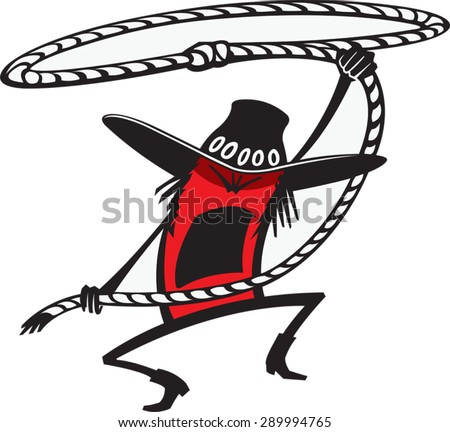 Cowboy Roper  Cartoon of Cowboy with a lasso. Vector file.  - stock vector
