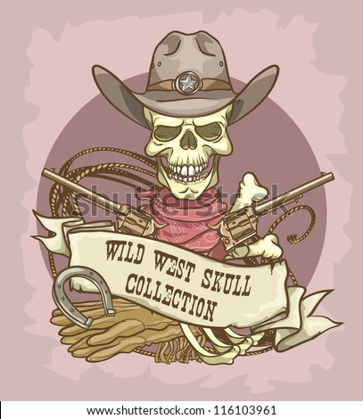Cowboy's skull logo design - Wild West Skull Collection - stock vector