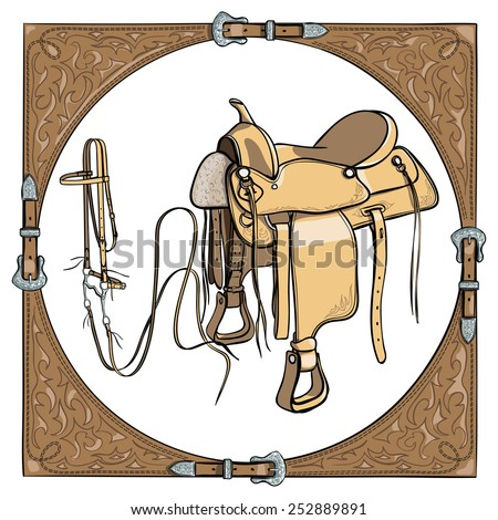 Cowboy saddle and bridle in the western leather frame on white background. Vector - stock vector
