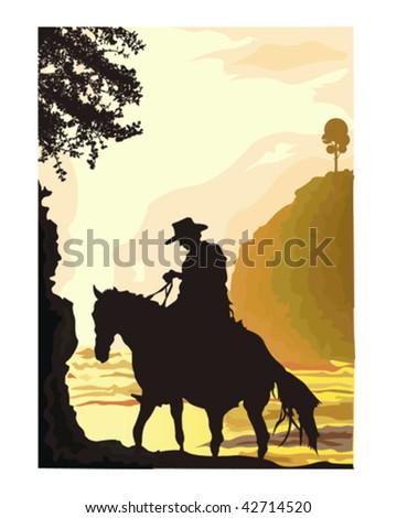 Cowboy Scene - stock vector
