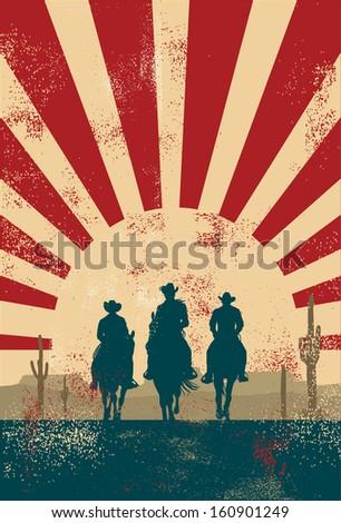 Cowboy silhouette background, vector - stock vector