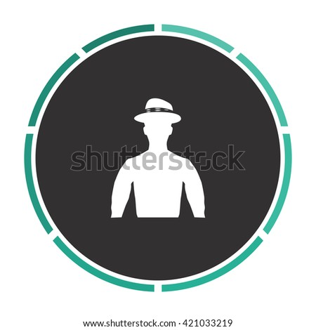 Cowboy Simple flat white vector pictogram on black circle. Illustration icon - stock vector